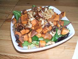 sweet potato lentil salad with dates and walnut salad