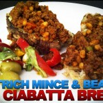 Ostrich Mince and Beans on Ciabatta Bread With Salad