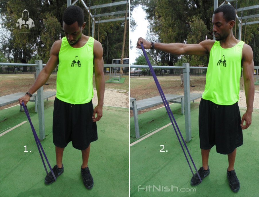 how to do band assisted shoulder raises