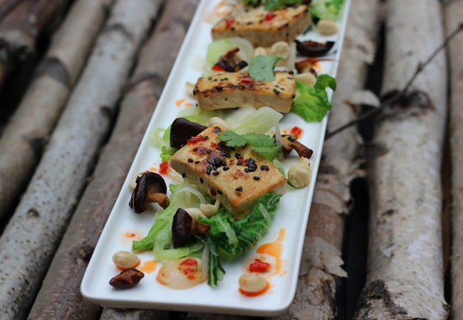 Grilled Tofu with BBQ Glaze And Stir-Fried Cabbage Recipe